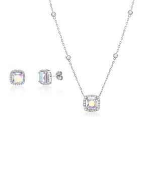 Aurore Boreale Crystal & Cubic Zirconia Cushion Halo Station Necklace and Stud Earring Set in Sterling Silver