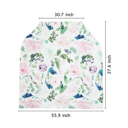 Infant Soft Heart Feather Floral Printed Nursing Car Seat 1pcs - image 3 de 8
