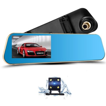 Podofo Dual Lens Dash Cam Car Camera Full HD 1080P Vehicle Video Recorder with 4.3-inch Rear View Mirror Front and Rear DVR, 16GB Micro SD Card