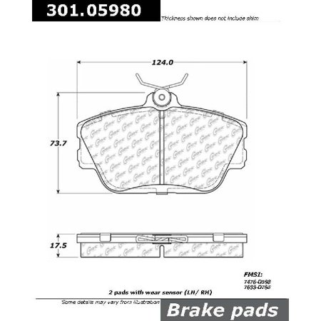 Go-Parts OE Replacement for 1996-2007 Ford Taurus Front Disc Brake Pad Set for Ford Taurus (Base / SHO)
