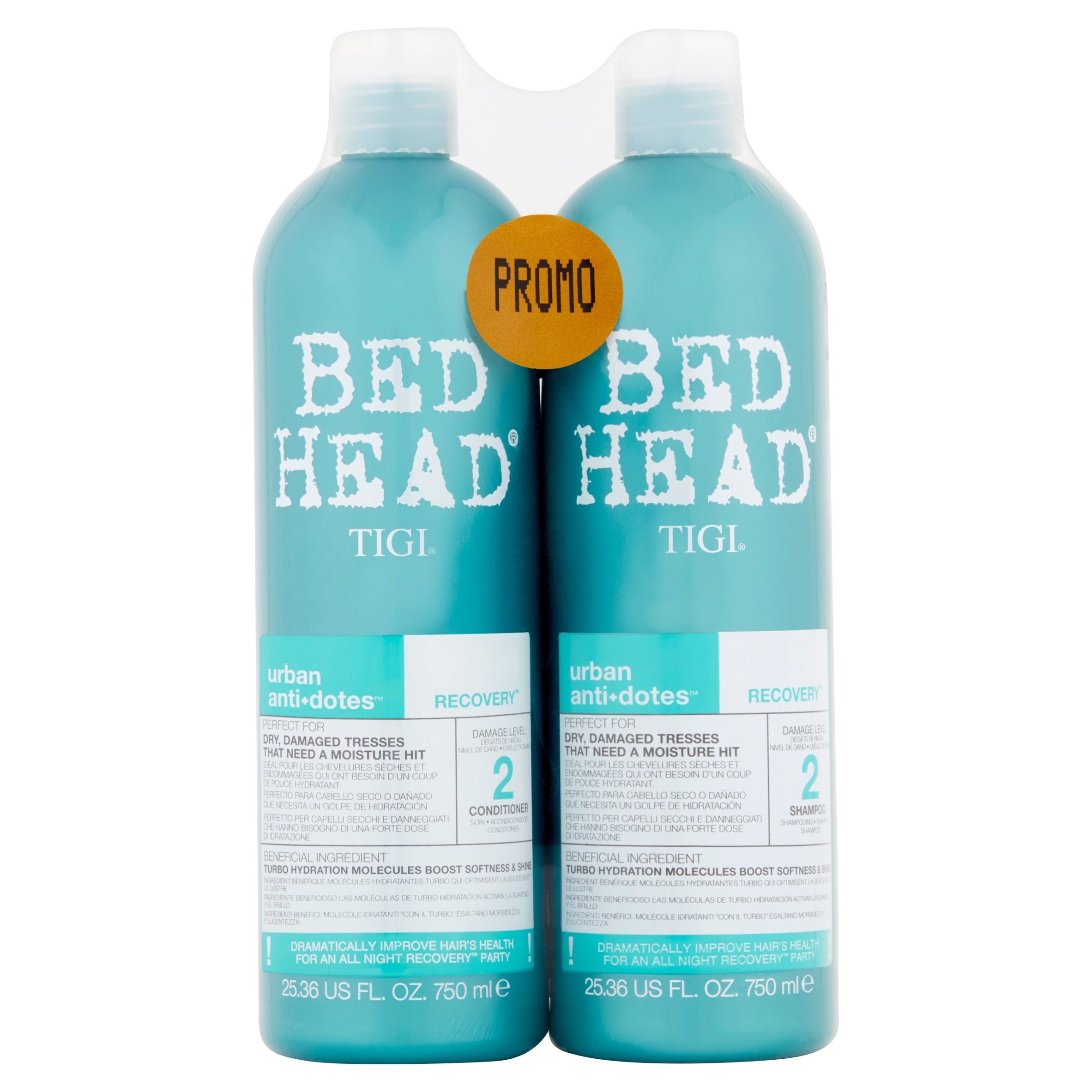 Tigi Bed Head Urban Anti+Dotes Damage Level 2 Recovery Shampoo and Conditioner, 25.36 fl oz, 2 pack
