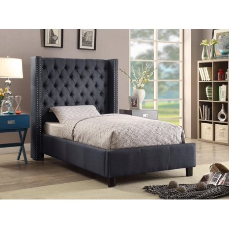 Meridian Furniture Ashton Full Size Bed in Grey Chrome Nailheads Contemporary ()