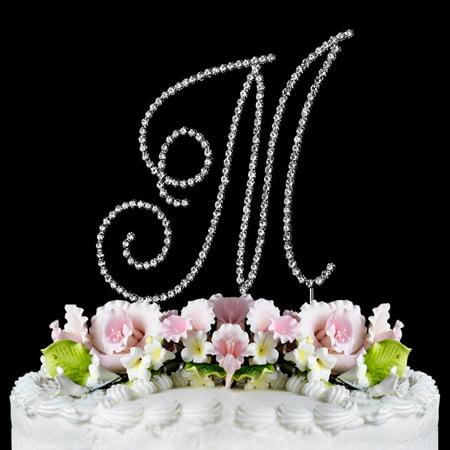 Swarovski Crystal Monogram Cake Toppers - Yacanna Swirl Design Crystal Monogram Cake Toppers Silver Cake Initial M Large