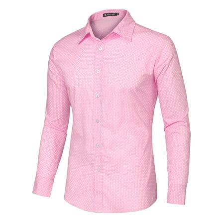 Men 100% Cotton Polka Dots Long Sleeve Slim Fit Dress Shirt Pink S US 34 Cotton Dotted Pattern Dress Shirt