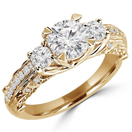 Majesty Diamonds MD180459-5 1.3 CTW Round Diamond Vintage Solitaire with Accents Engagement Ring in 14K Yellow Gold - Size 5 - image 1 of 1