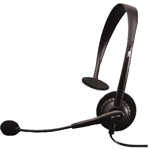 Cyber Acoustics Speech Recognition Monaural Headset with Boom Mic & 3.5mm Connector, AC-100B
