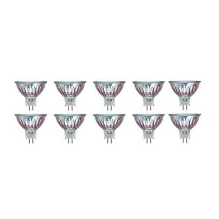 Pack Of 10 50MR16//FL/CG 50Watt, 120 Volt, MR16, 120V, 50W GU5.3 Bi-Pin Base, With UV Glass Cover, Halogen Flood Light Bulb 50w Black Incandescent Swivel