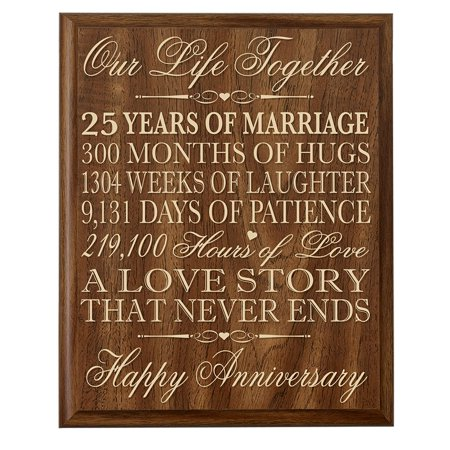 25th Wedding Anniversary Wall Plaque Gifts for Couple 25th Anniversary Gifts for Her 25th Wedding Anniversary Gifts for Him 12 W X 15' H Wall Plaque By Dayspring Milestones (Walnut)
