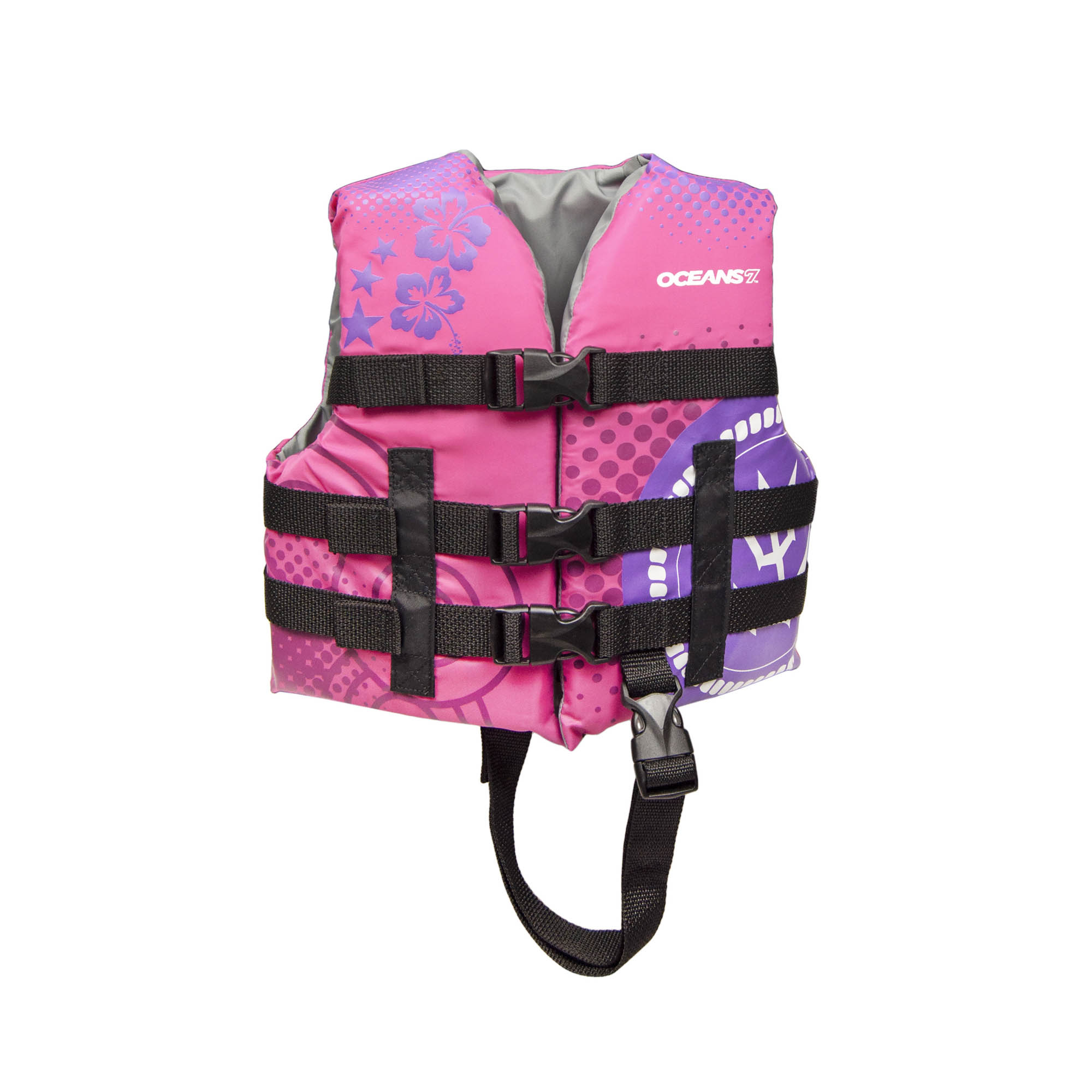 Oceans 7 USCGA 3 Buckle Youth Life Vest, Oxford Child, Raspberry
