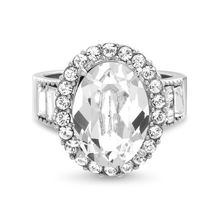 - Faceted Crystal Halo Style Oval Center and Baguette Side Engagement Ring in Sterling Silver made with Swarovski Crystals