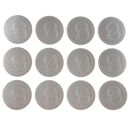 Wedding Ring Print Seal Stickers, 1-inch, 100-pack, Silver