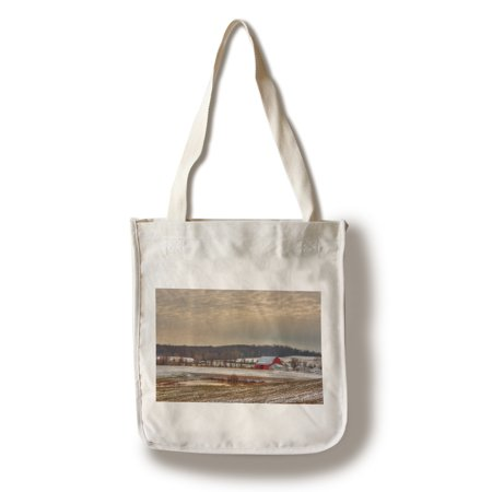 Field with Red Barn - Lantern Press Photography (100% Cotton Tote Bag - Reusable)