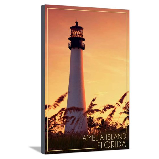 Amelia Island, Florida - Lighthouse and Seagrass Stretched Canvas ...