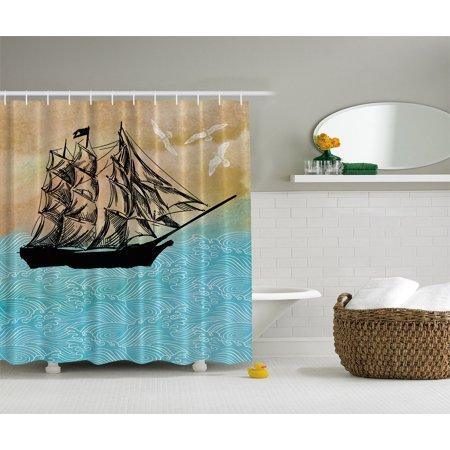 Sailboat Japanese Pencil Drawing Pirate Ship Caribbean Extra Long Shower Curtain