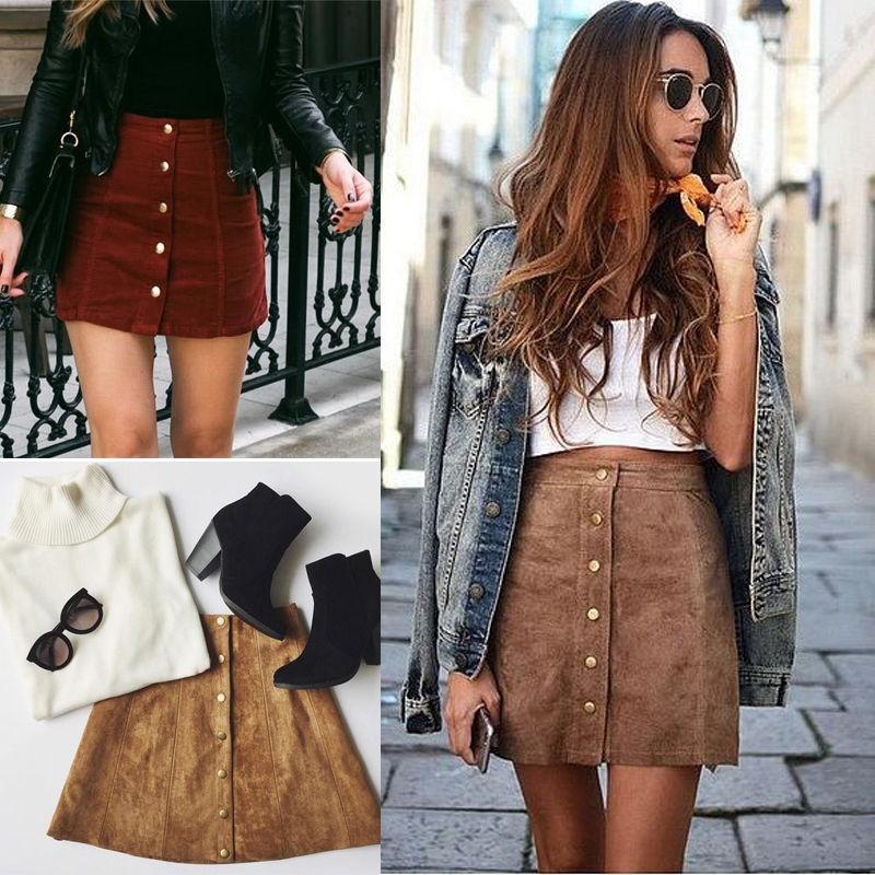 Women/'s High Waist Lace Up Suede Leather Pocket Preppy A-line Short Mini Skirt