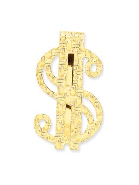 14K Yellow Gold Polished Dollar Sign Money Clip
