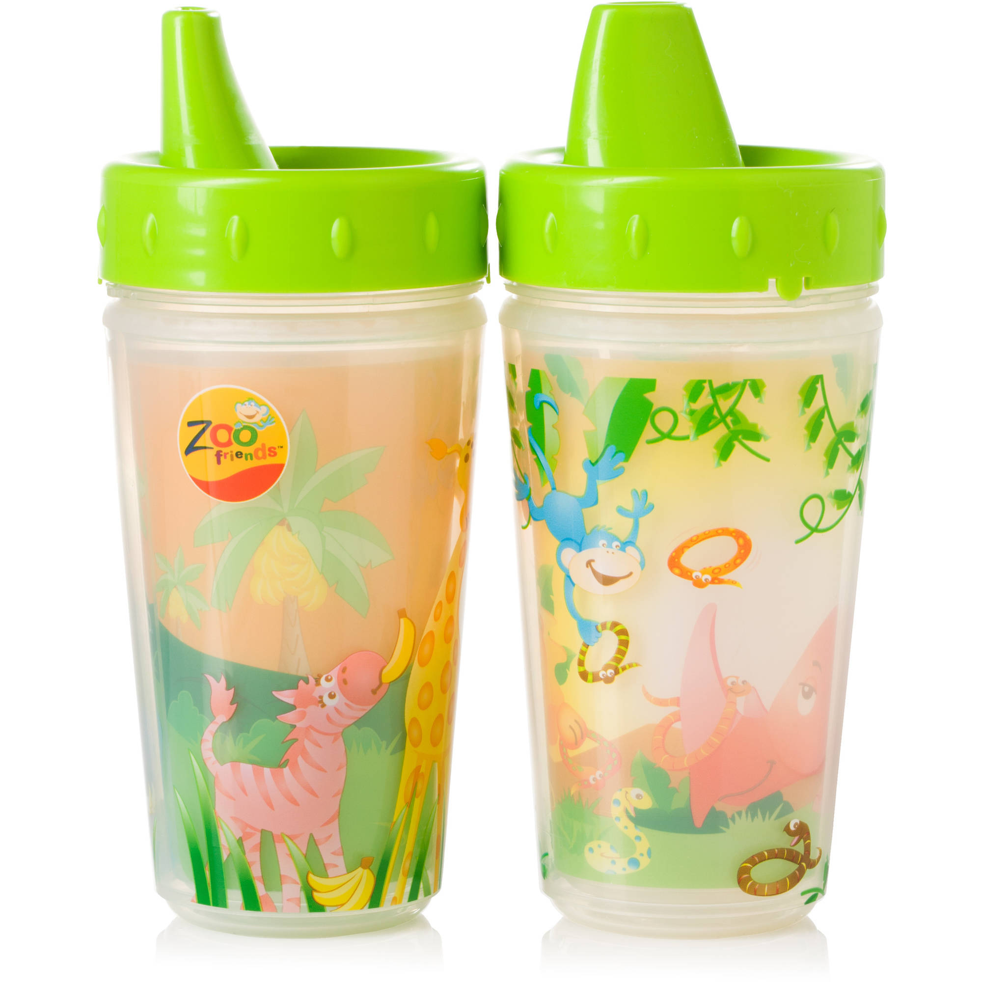 Evenflo Zoo Friends Insulated Sippy Cup, 2-Pack, Boy, BPA-Free
