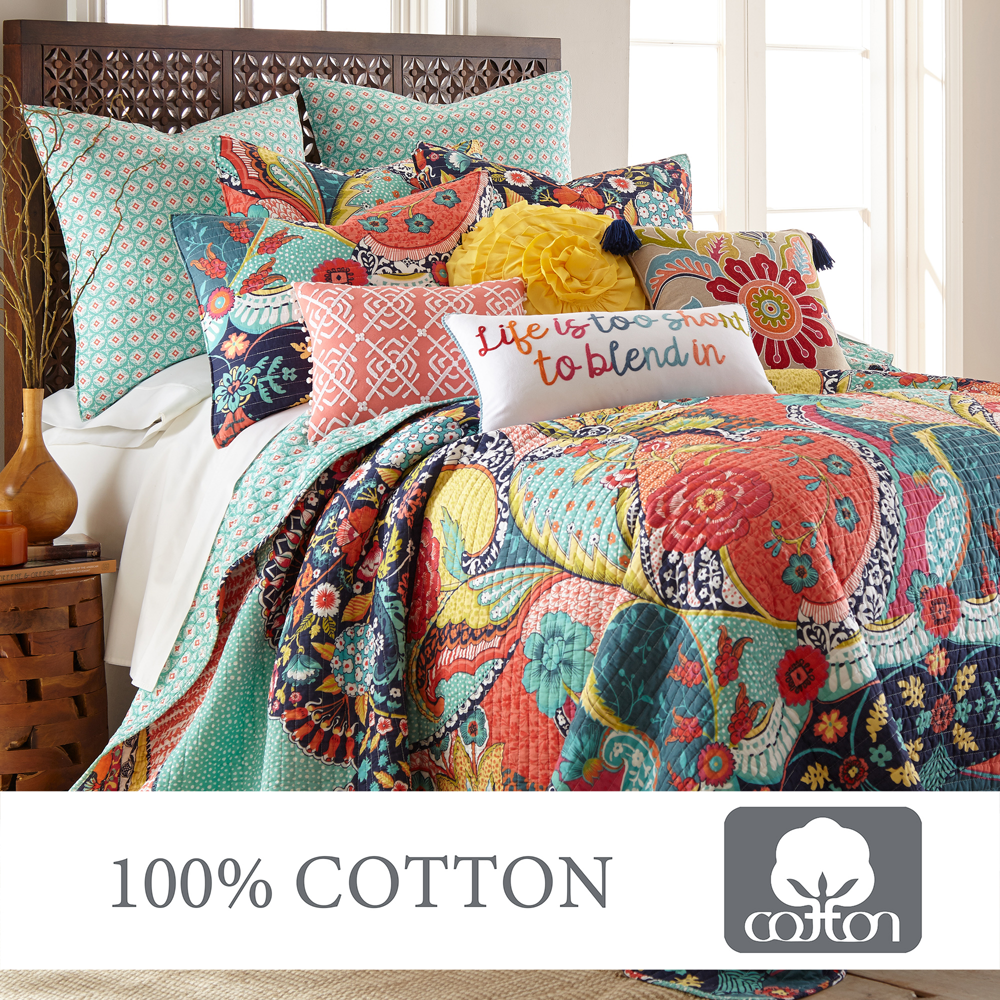 Levtex Home Jules Quilt Set King 106x92in Two Pillow Shams 36x20in Bohemian Teal Orange Yellow Green Blue Red Black Reversible Cotton Fabric Walmart Com