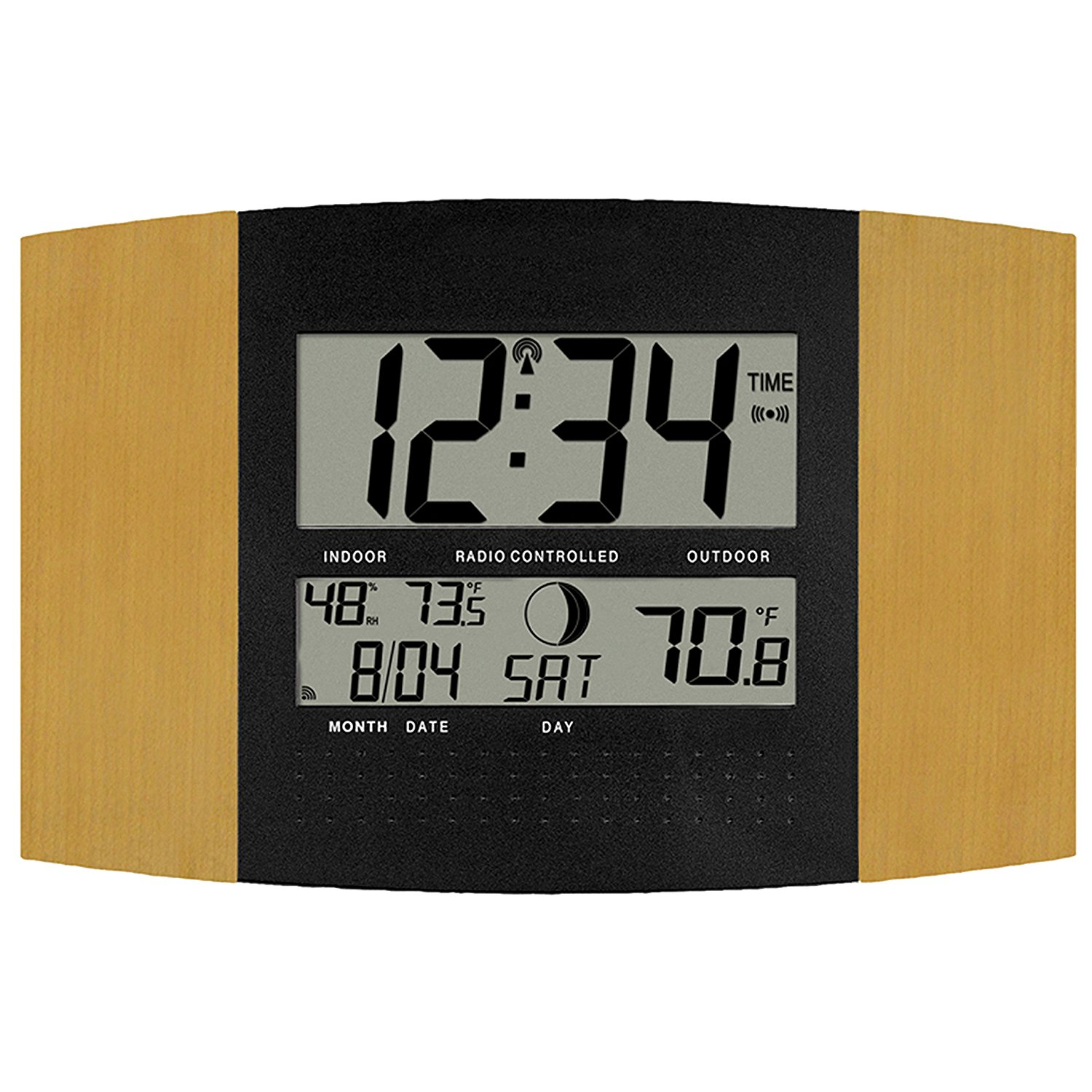 Ws 8147u It Atomic Digital Wall Clock With Temperature And Moon