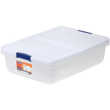 Hefty 34-Quart Latch Box, Clear Base, White Lid and Blue