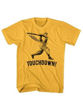 e169235e Product Image Baseball Player Hitting Homerun Saying Touchdown Funny  Comical Adult T-Shirt Tee