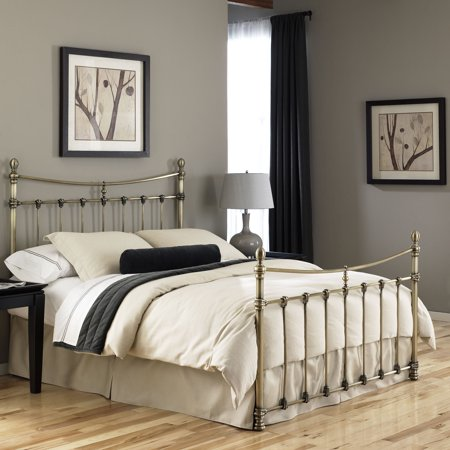 Leighton Complete Metal Bed and Steel Support Frame with Straight-Lined Spindles and Scalloped Castings, Glazed Brass Finish, King