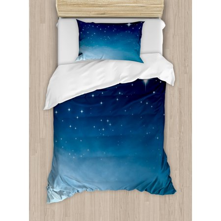 Sky Duvet (Night Twin Size Duvet Cover Set, Ombre Inspired Sky with Vibrant Stars Universe Astronomy Exploration, Decorative 2 Piece Bedding Set with 1 Pillow Sham, Pale Blue Dark Blue White, by Ambesonne)