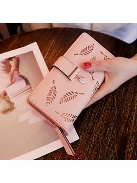 Womens wallets card cases walmart women hollow out leaf long clutch purse card holder bifold leather wallet reheart Images