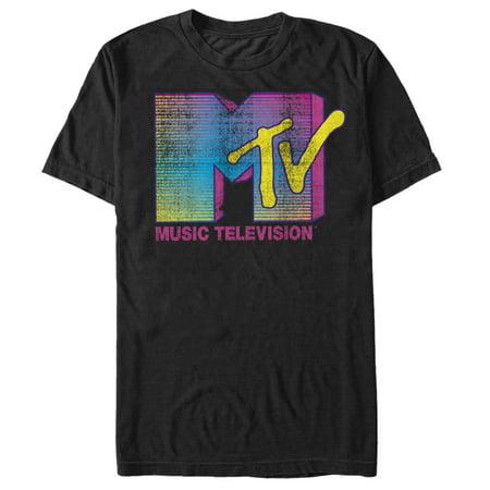 MTV Men's Stripe Logo T-Shirt (Logan Stripe)