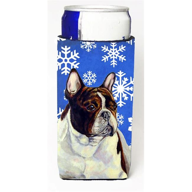 Carolines Treasures LH9292MUK French Bulldog Winter Snowflakes Holiday Michelob Ultra bottle sleeves For Slim Cans - 12 oz. - image 1 of 1