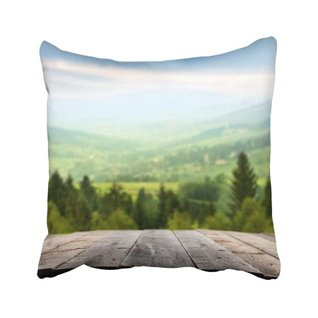 BPBOP Blue Wood Wooden Terrace And Mountains Of Green Color Table Perspective Nature Deck Pillowcase Pillow Cushion Cover 20x20 inches