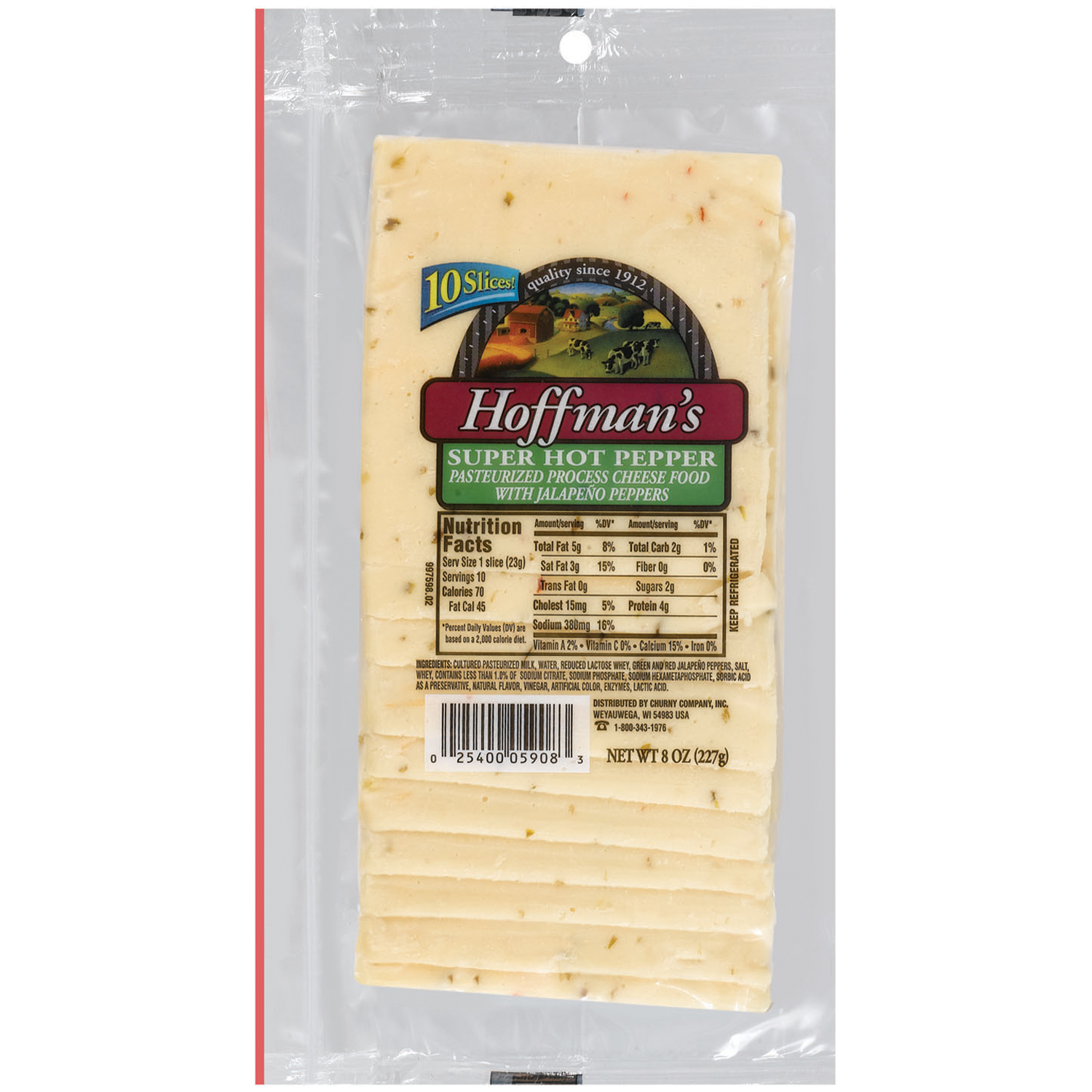 Hoffman's Super Hot Pepper Cheese Slices 10 ct Bag