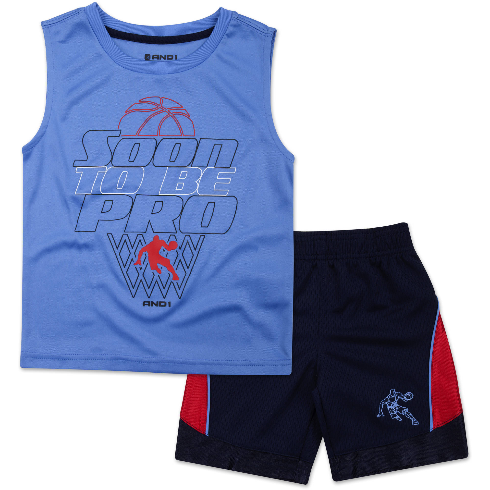 "And1 Baby Toddler Boy ""Soon To Be Pro"" 2 Pc Tee & Shorts Outfit Set"
