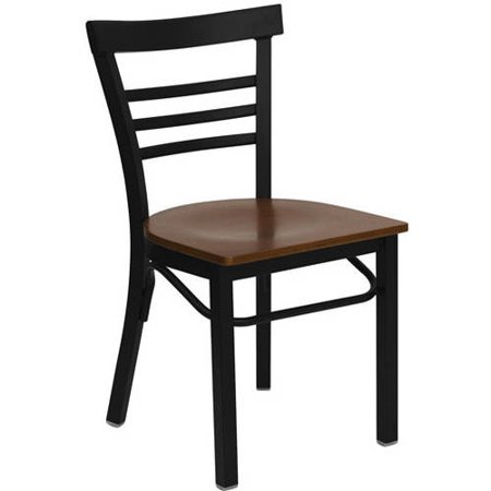 Flash Furniture Ladder Back Chairs - Set of 2, Black Metal / Mahogany Wood
