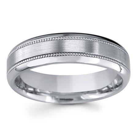 Men's 6MM Comfort Fit Titanium Wedding Band Ring w/ Milgrain Detail