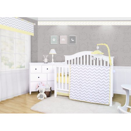 OptimaBaby Yellow Grey Chevron 6 Piece Unisex Baby Nursery Crib Bedding Set