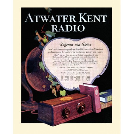 Back cover advertisment for the Atwater Kent Radio - Different and Better from the 1927 issue of Etude magazine Poster Print by unknown ()
