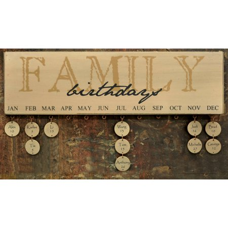 Family Birthday Board Sign Calendar Wooden - Signs By Birthday