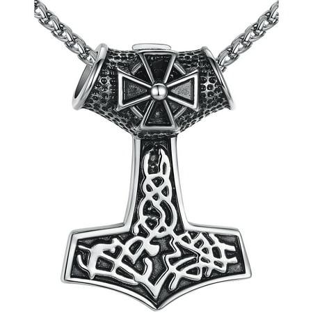 Men's Stainless Steel Vikings Thor's Hammer and Cross Biker Pendant Necklace