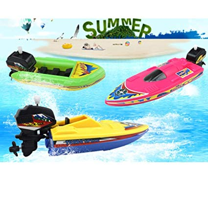 Best Birthday Gift for Boys and Girls Bath Tub Set of 3 Swimming Pool and Beach Water Racing Toys Fun Summer and Birthday Party Activity ArtCreativity Wind-Up Speed Boat Toys for Kids