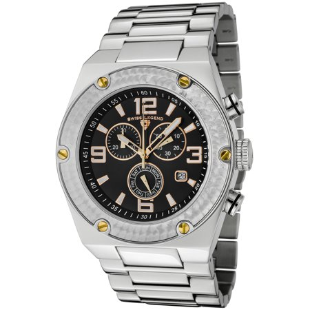Swiss Legend 40025P-11-Ga Throttle Chronograph Ss Black Dial Stainless Steel Gold-Tone Accents Watch