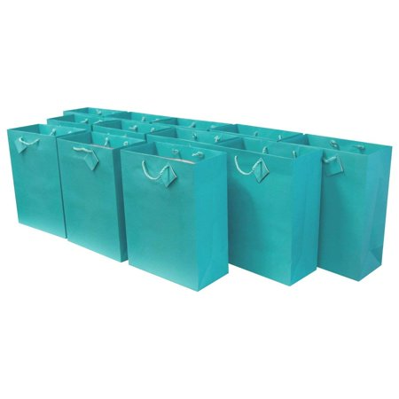 Medium [7.5 x 3.5 x 9 x 3.5] Paper Gift Bags with Handles, Party Favor Bags for Birthday Parties, Weddings, Holidays and All Occasions (12 Gift Bags) Turquoise Color