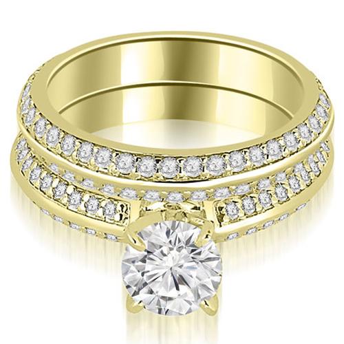 1.30 CT.TW Knife Edge Matching Round Cut Diamond Bridal Set in 14K White, Yellow Or Rose Gold