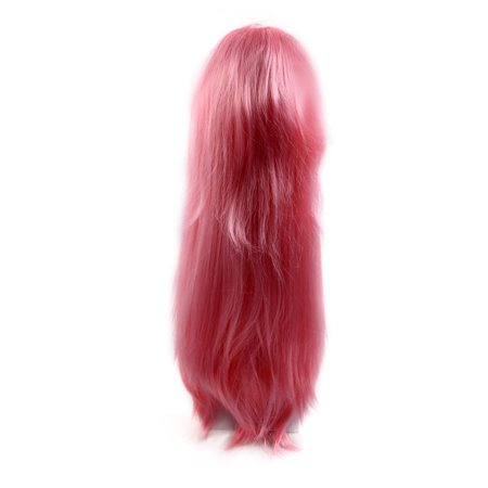 Pink 27.6 Inches Long Synthetic Straight Hair Cosplay Party Flat Bangs Wigs - Pink Wigs For Sale