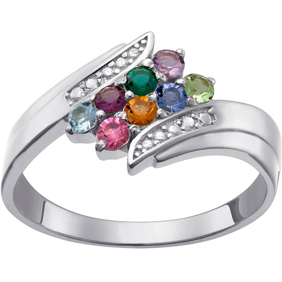 Personalized Family Rhodium-Plated or Gold-Plated Birthstone Bypass Ring