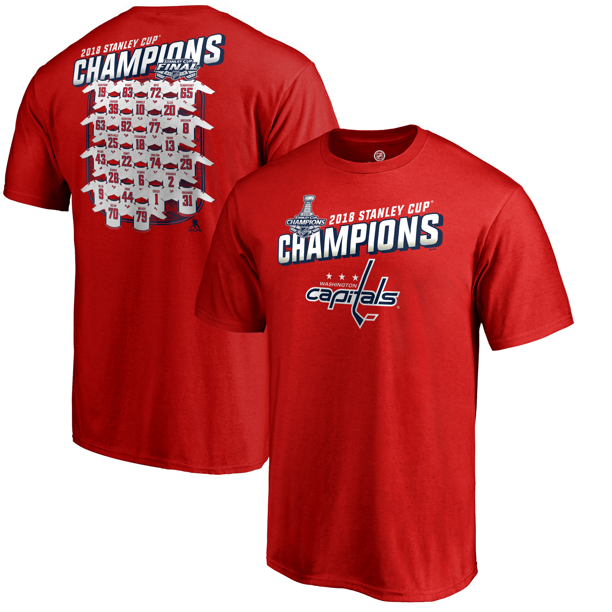 Washington Capitals Fanatics Branded 2018 Stanley Cup Champions Jersey Roster T-Shirt - Red