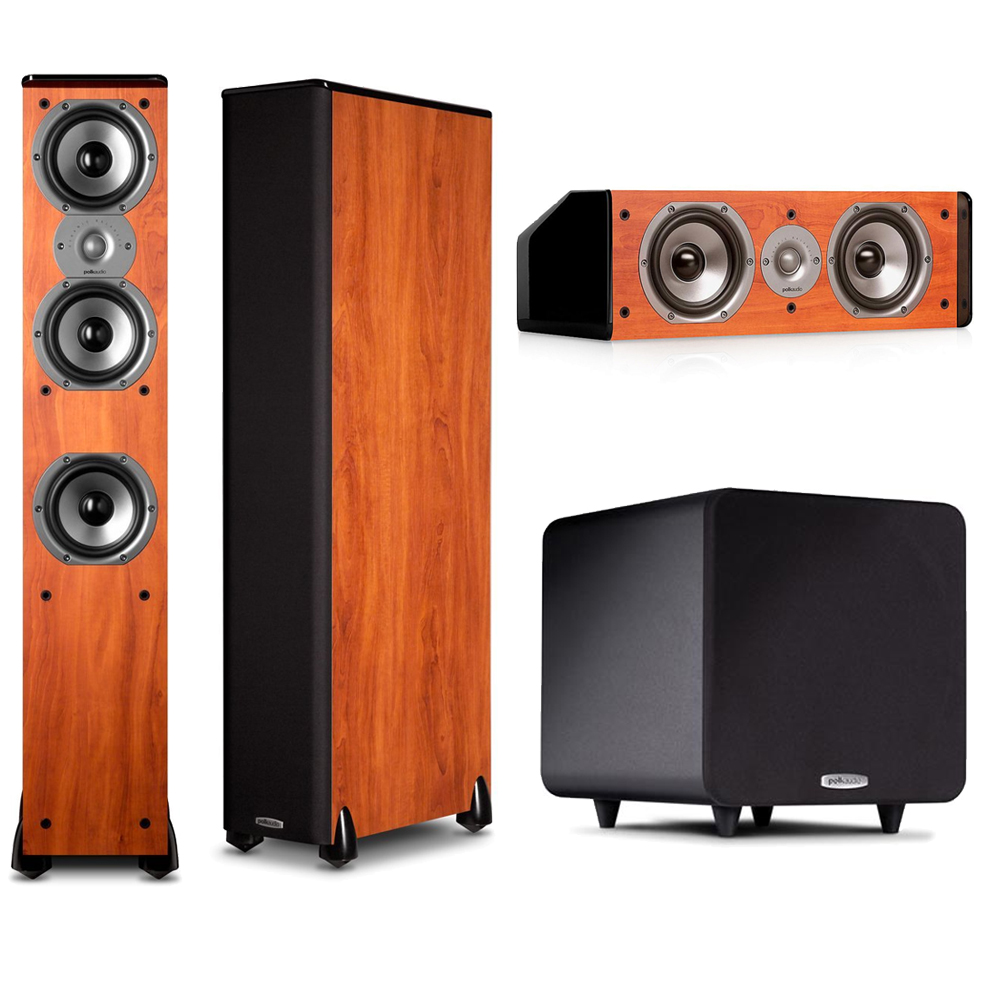Polk Audio 3.1 System with (2) TSi400 Floorstanding Speakers in Cherry, CS10 Center in Cherry & PSW111 Subwoofer by Polk Audio
