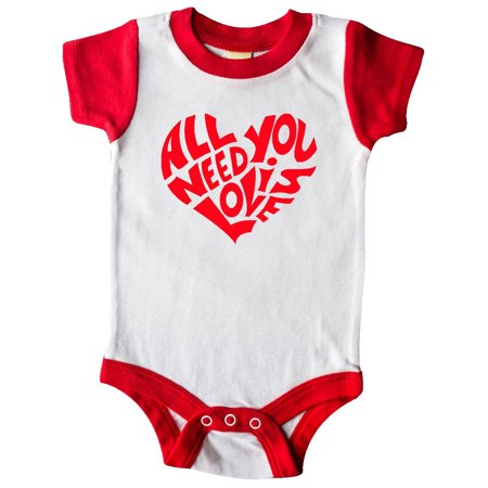 All You Need is Love Red Heart Shape Infant (List Of Baby Items Needed For Newborn)