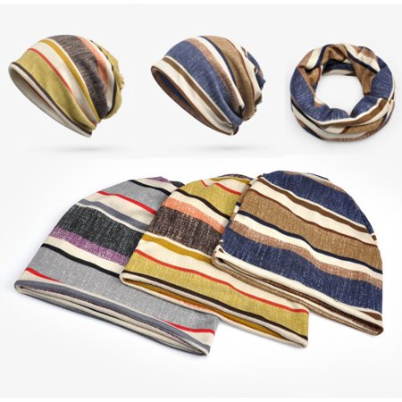 Mens Stripes Beanie Hat Winter Plus Cashmere Bonnet Hat Multi-function Scarf