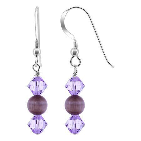 Gem Avenue 925 Sterling Silver Cats Eye Bead Drop Earrings ()